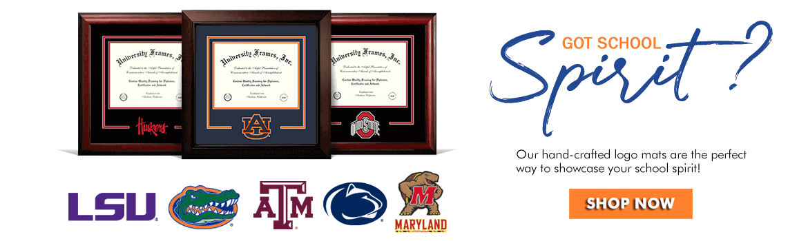 Shop for custom diploma frames with the college mascot logo