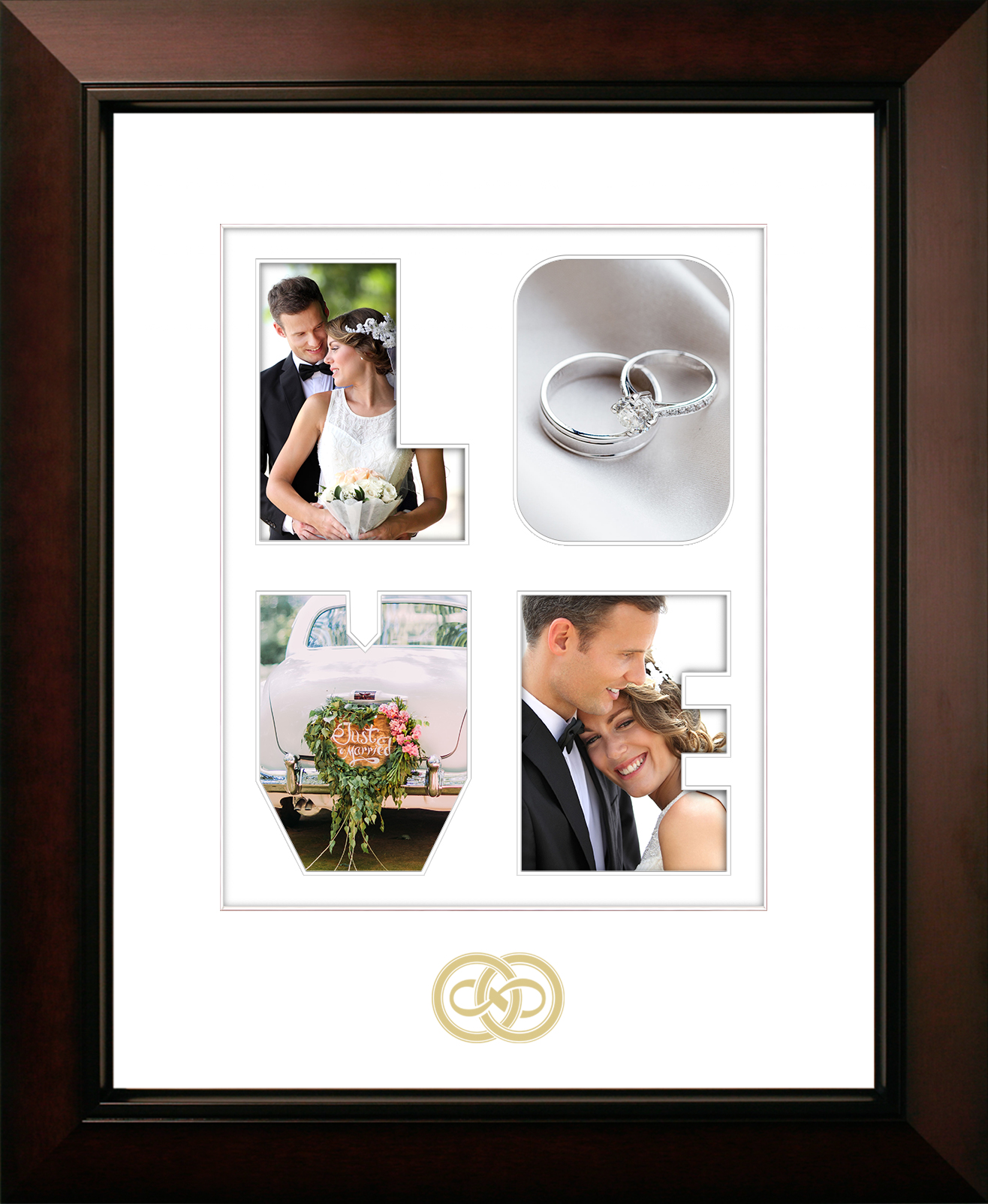 LOVE Snapshots Wedding Frame with Gold Foil