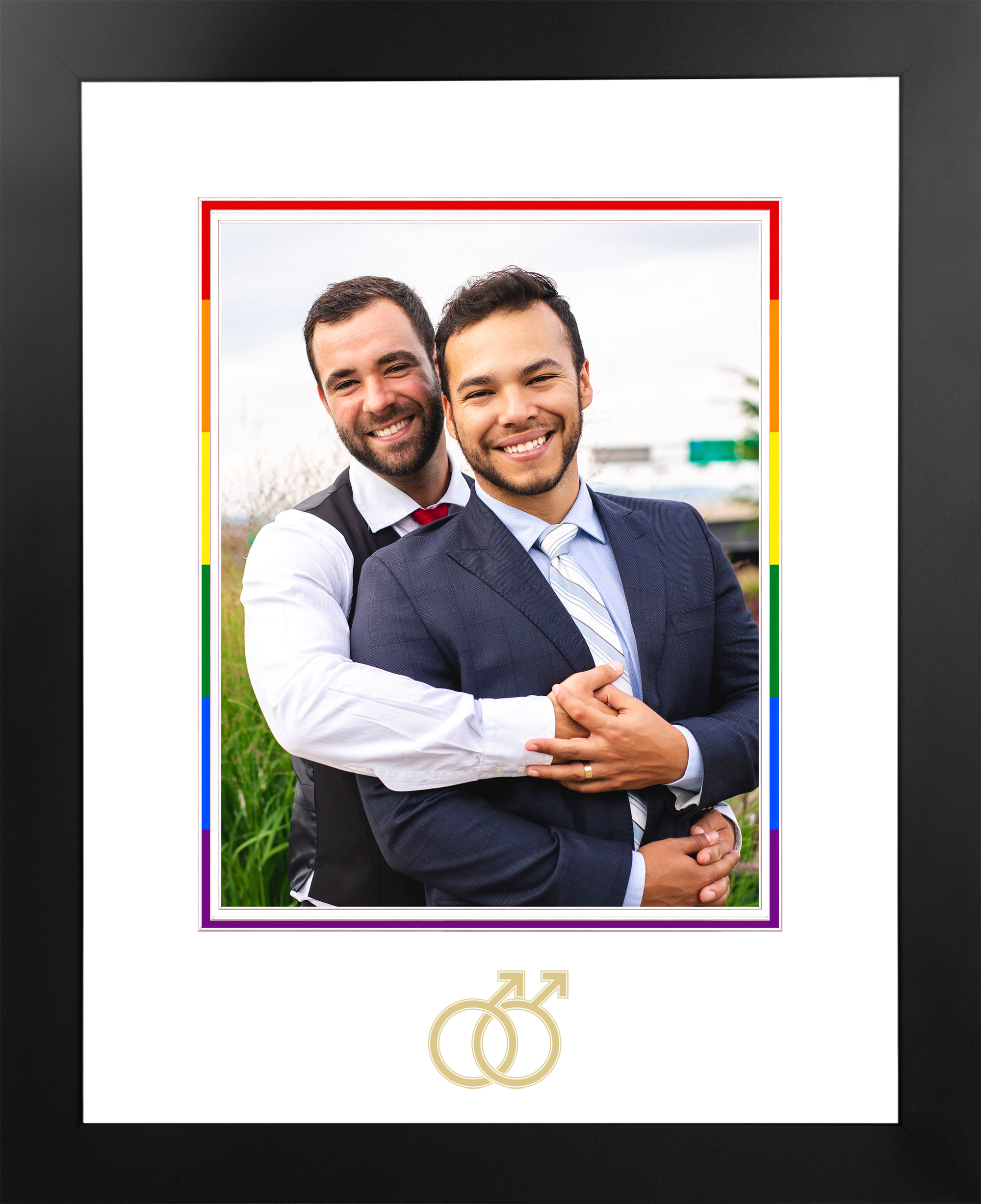 LGBT Wedding Photo Frame Gold Male Logo
