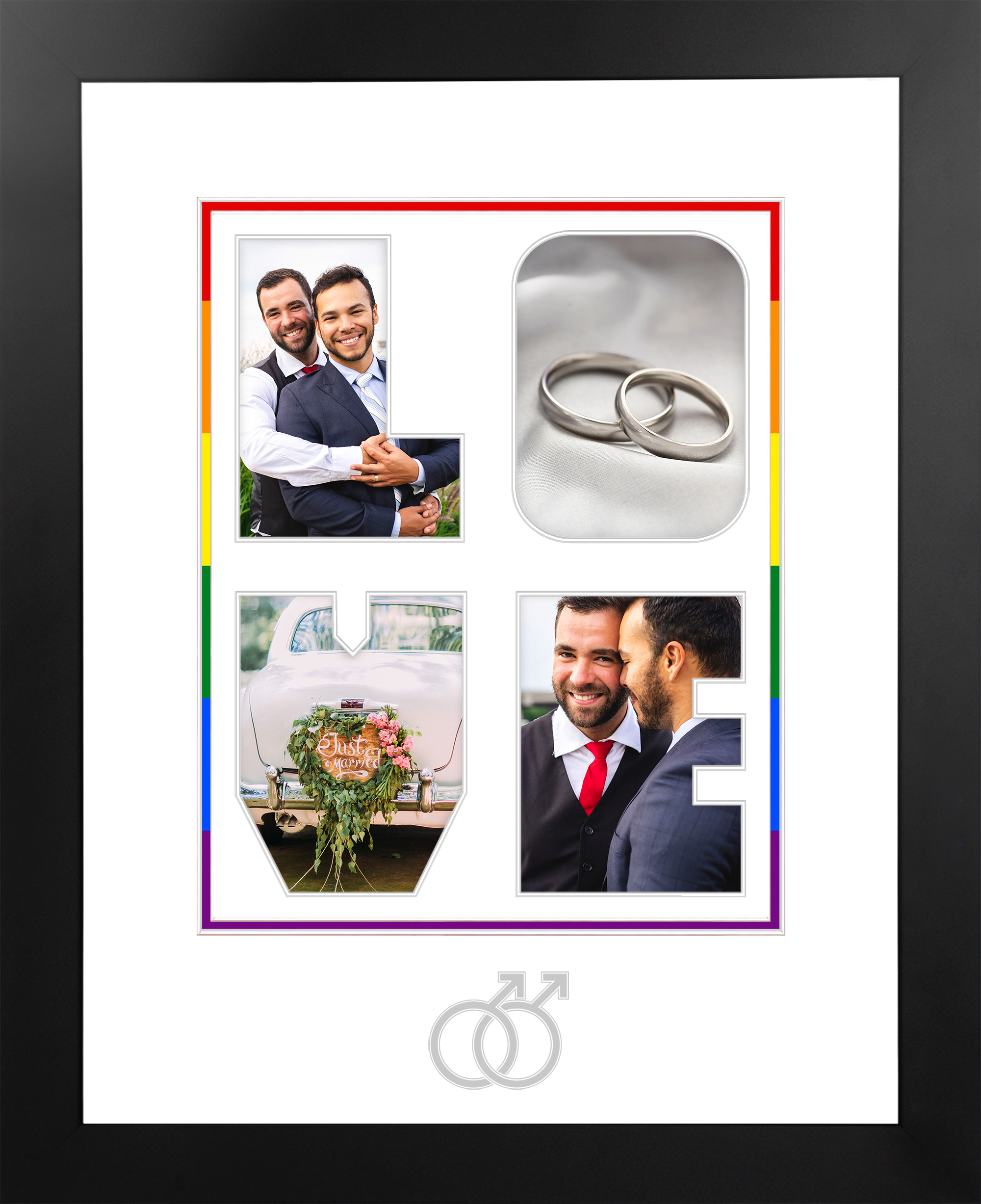 "LGBT Wedding ""LOVE"" Snapshot Photo Frame Silver Male Logo"