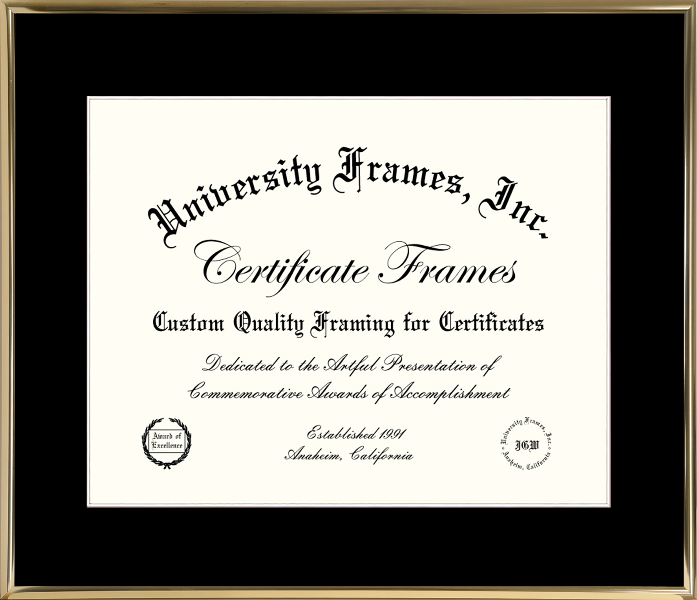 11 x 14 Certificate Frame Thin Gold Metal with Black Mat