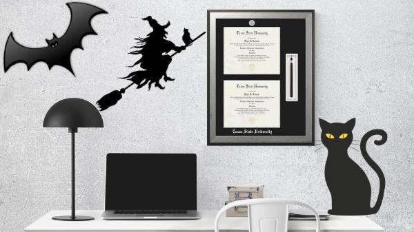 A creepy diploma frame wall
