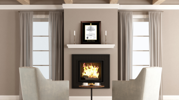 Diploma Frame above the fireplace