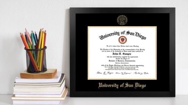 Diploma frame on a shelf