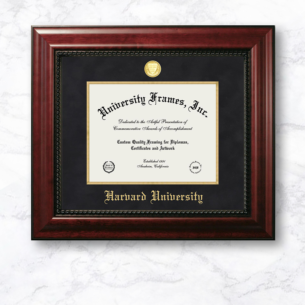 harvard-university-diploma-frame-in-executive-with-gold-fillet-with-black-suede-mat