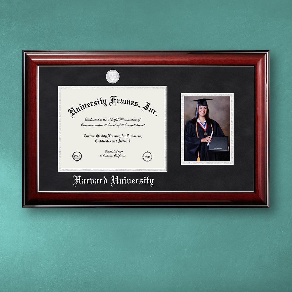 harvard-university-diploma-with-5-x-7-portrait-frame-in-classic-mahogany-with-silver-trim-with-black-suede