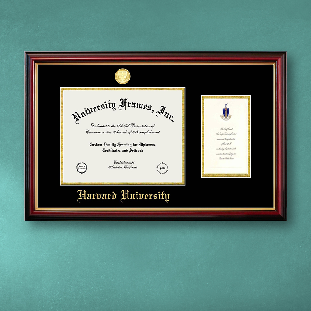 harvard-university-diploma-with-announcement-frame-in-petite-mahogany-with-gold-trim-with-black-gold