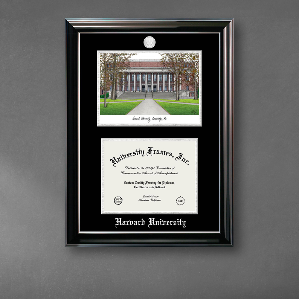 harvard-university-double-opening-with-campus-image-stacked-frame-in-classic-ebony-with-silver-trim