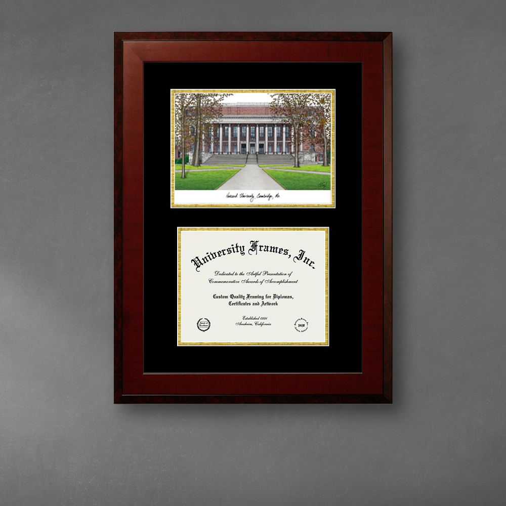 harvard-university-double-opening-with-campus-image-unimprinted-mat-frame-in-honors-mahogany-with-black