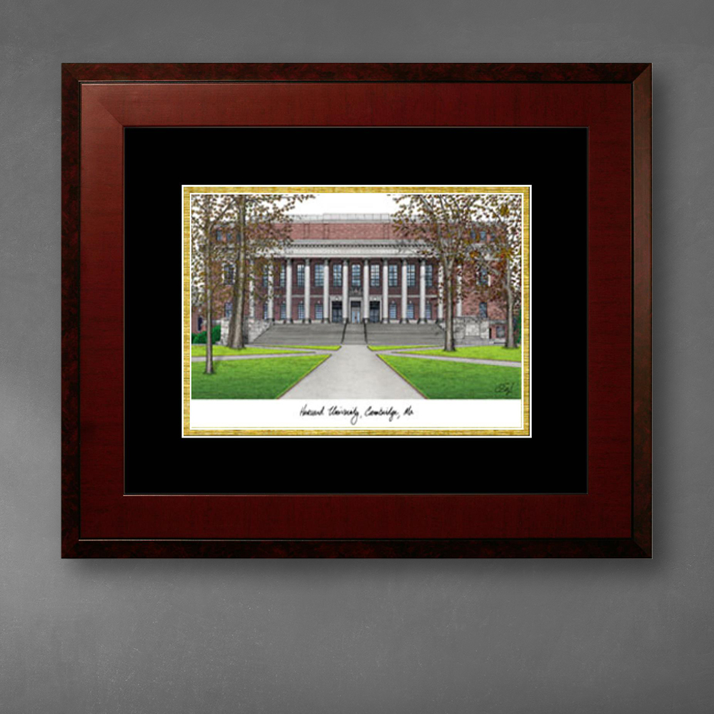 harvard-university-lithograph-only-frame-in-honors-mahogany-with-black-gold-mats