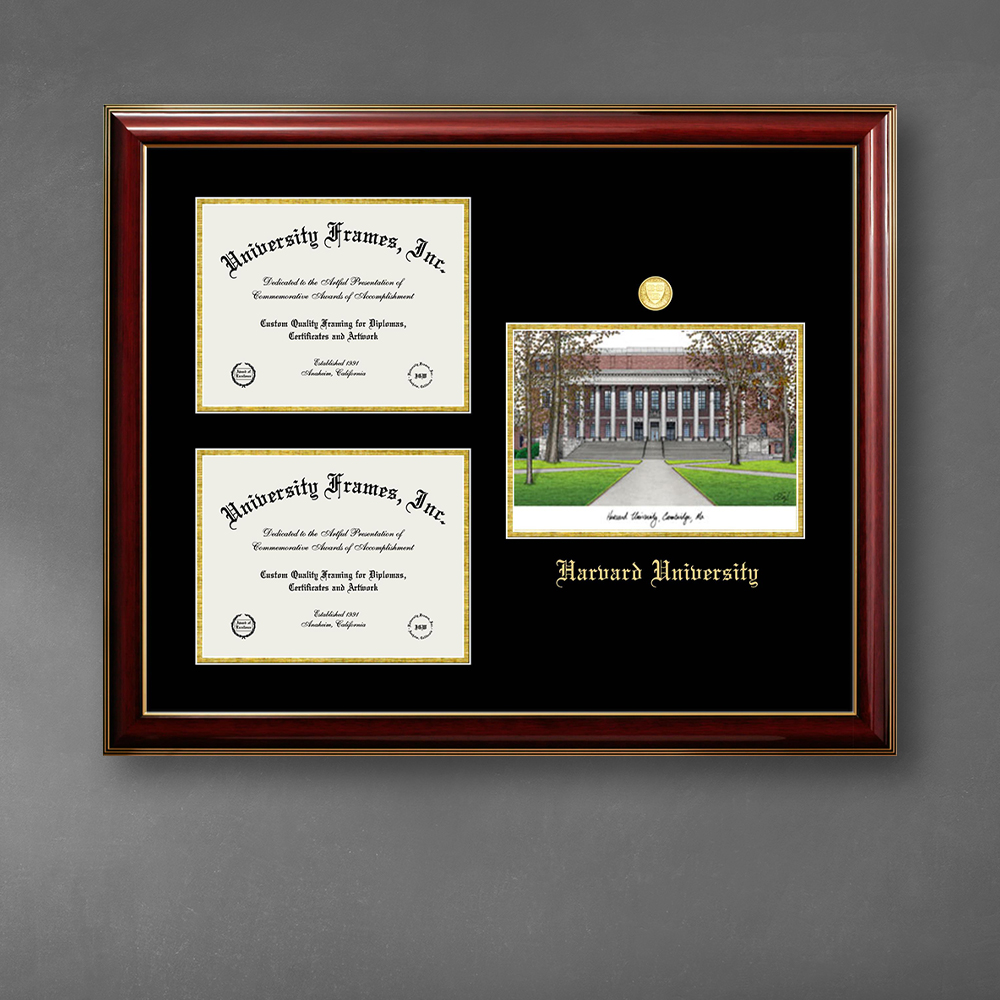 harvard-university-triple-opening-with-campus-image-frame-in-classic-mahogany-with-gold-trim-with-black