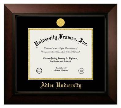 "Adler University Diploma Frame in Legacy Black Cherry with Black & Gold Mats for DOCUMENT: 8 1/2""H X 11""W"