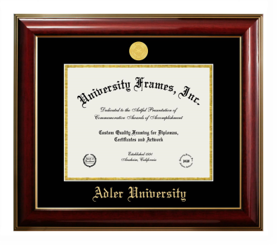 "Adler University Diploma Frame in Classic Mahogany with Gold Trim with Black & Gold Mats for DOCUMENT: 8 1/2""H X 11""W"