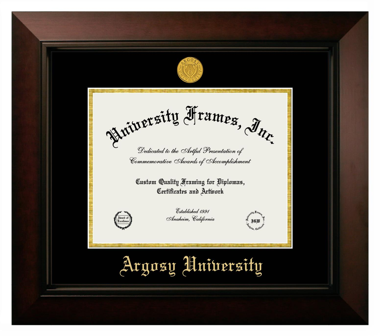 Argosy University Diploma Frame In Legacy Black Cherry With Black Gold Mats