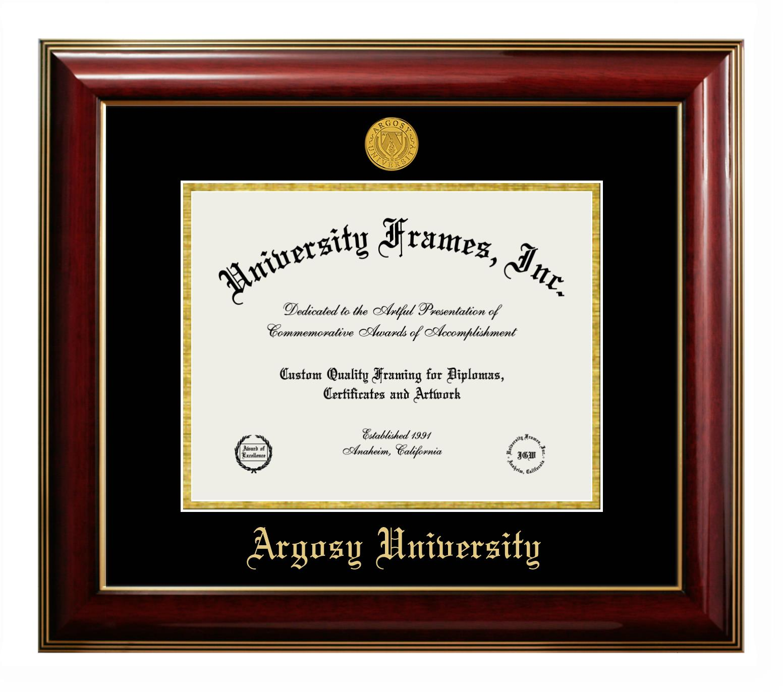 Argosy University Diploma With Tassel Box Frame In Satin Mahogany With Black Silver Mats