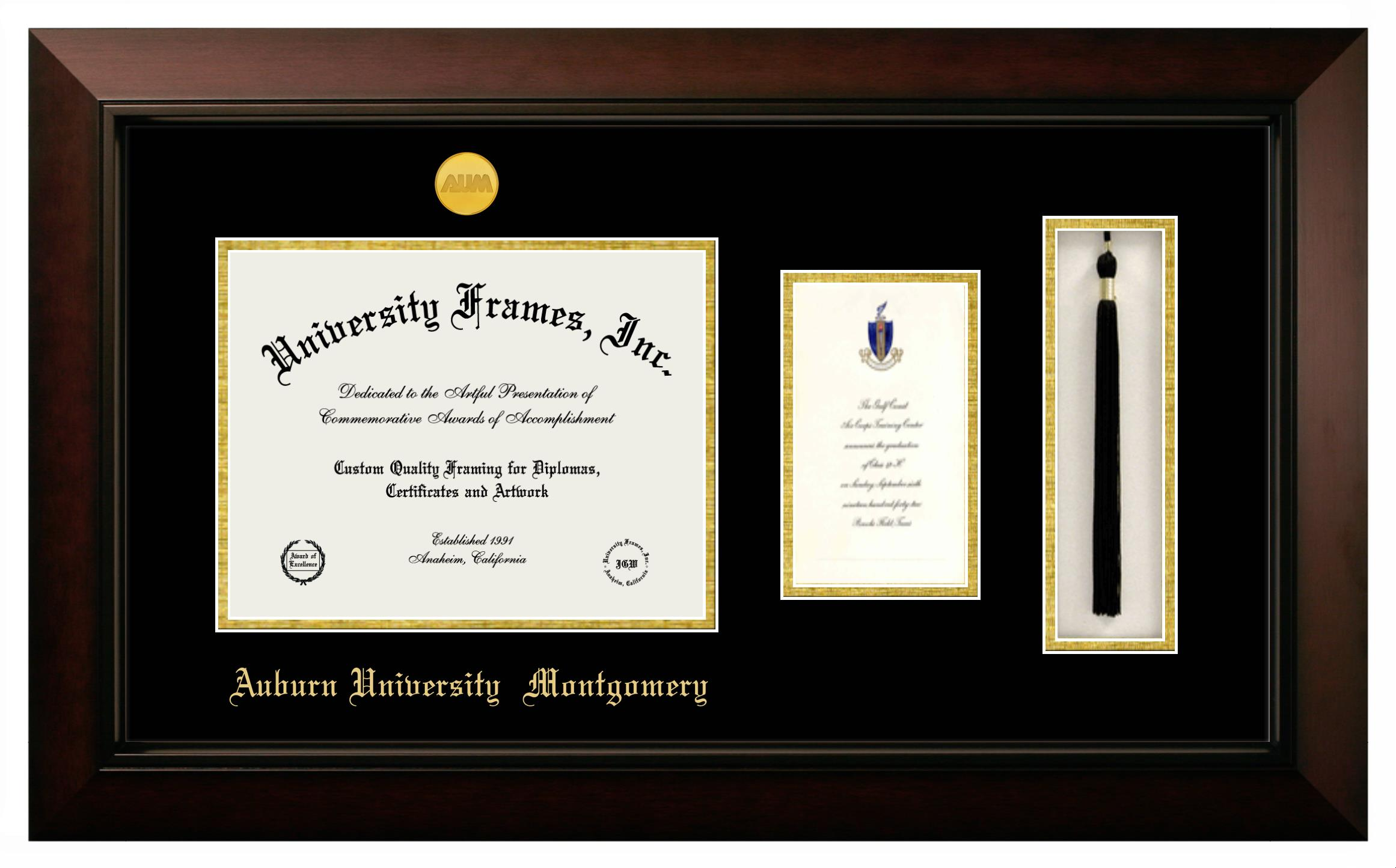 Auburn University Montgomery Diploma With Announcement Tassel Box Frame In Legacy Black Cherry With Black Gold Mats