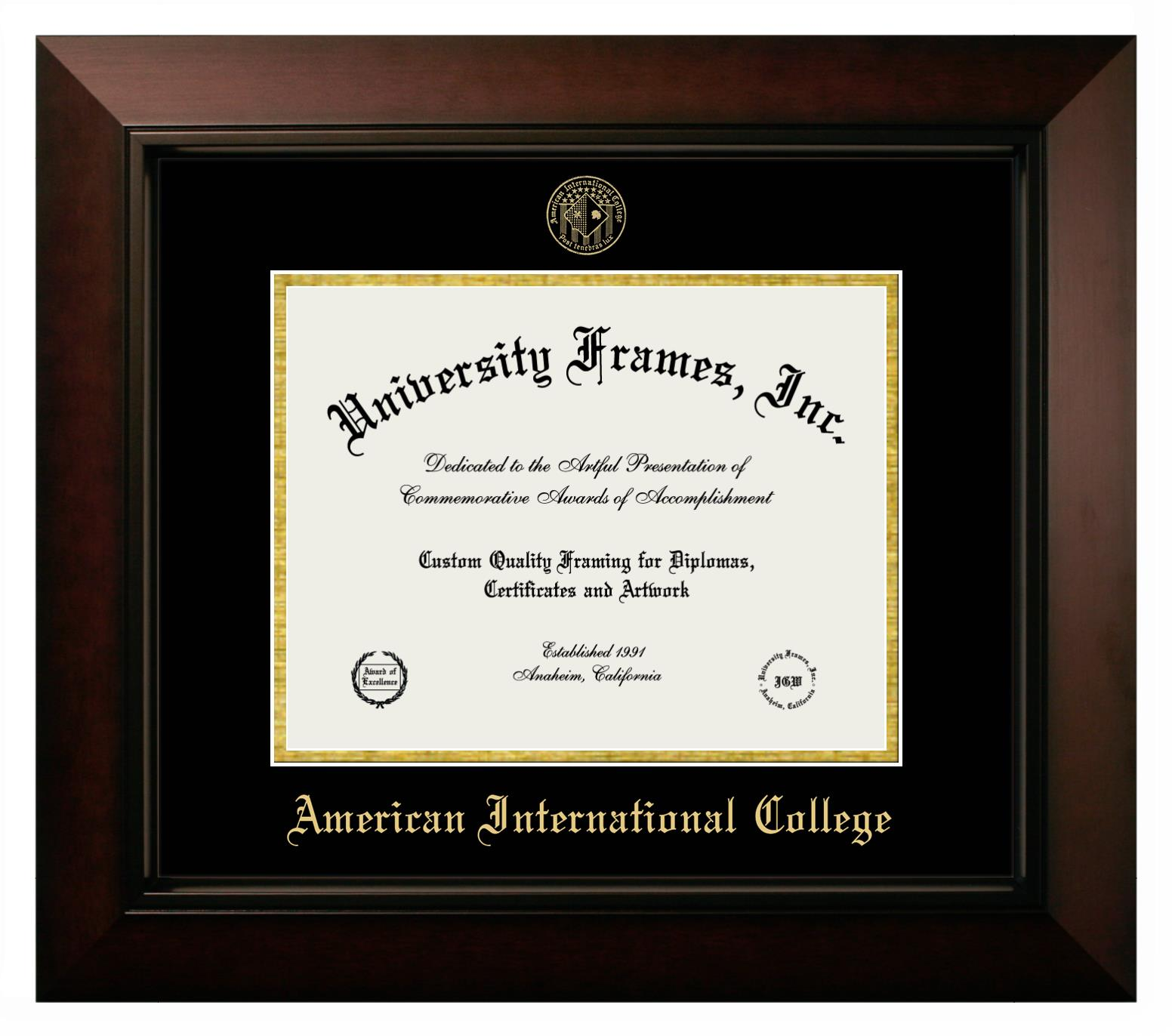 American International College Diploma Frame In Executive With Gold Fillet With Black Suede Mat