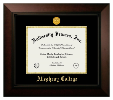 "Allegheny College Diploma Frame in Legacy Black Cherry with Black & Gold Mats for DOCUMENT: 8 1/2""H X 11""W"