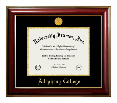 "Allegheny College Diploma Frame in Classic Mahogany with Gold Trim with Black & Gold Mats for DOCUMENT: 8 1/2""H X 11""W"