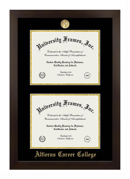 "Altierus Career College Double Degree (Stacked) Frame in Manhattan Espresso with Black & Gold Mats for DOCUMENT: 8 1/2""H X 11""W  , DOCUMENT: 8 1/2""H X 11""W"