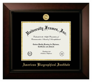 "American Biographical Institute Diploma Frame in Legacy Black Cherry with Black & Gold Mats for DOCUMENT: 8 1/2""H X 11""W"