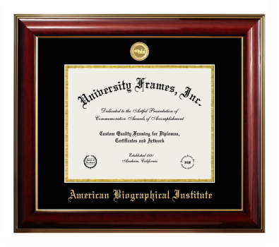 "American Biographical Institute Diploma Frame in Classic Mahogany with Gold Trim with Black & Gold Mats for DOCUMENT: 8 1/2""H X 11""W"
