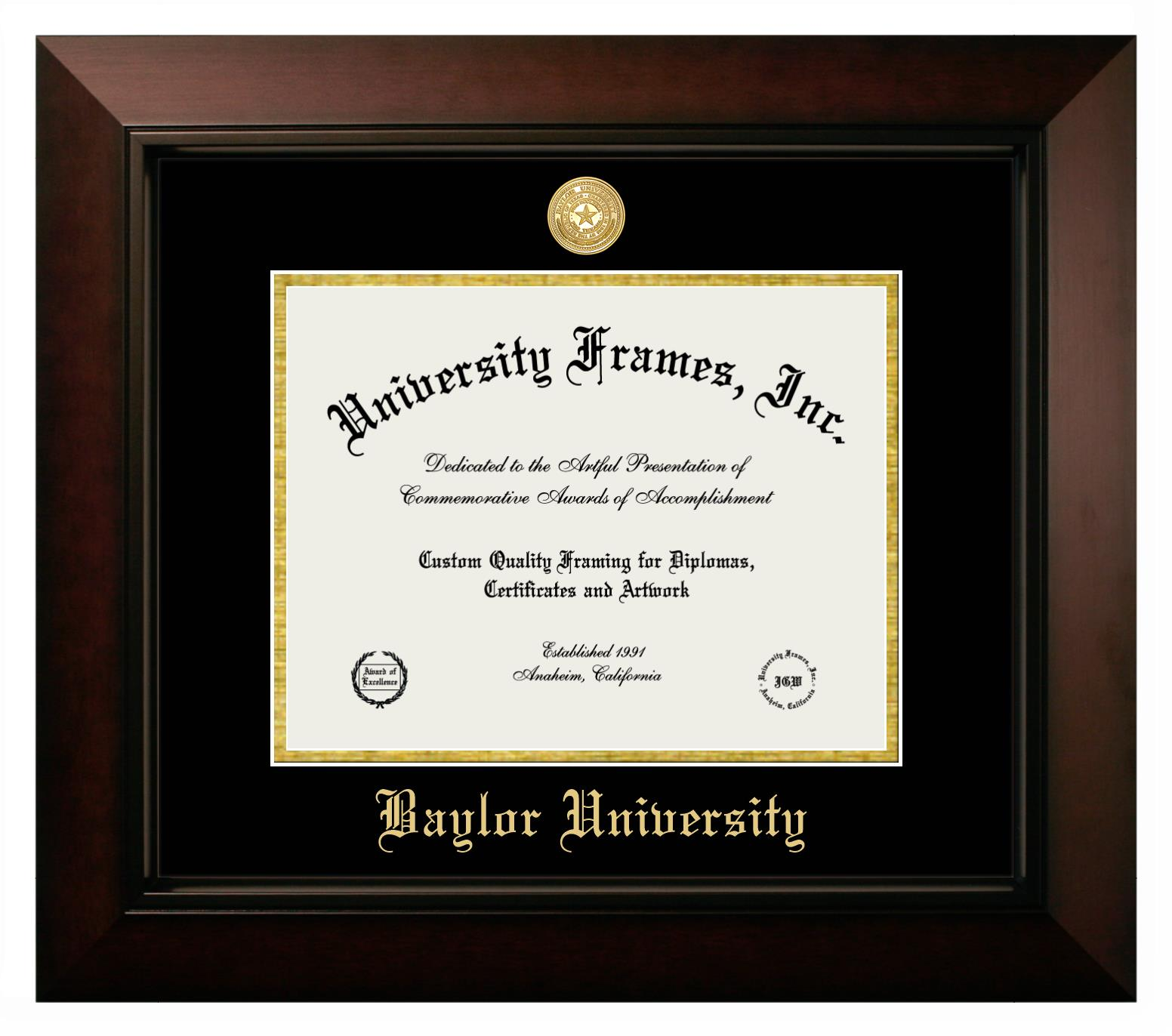 Baylor University Diploma Frame In Legacy Black Cherry With Black Gold Mats