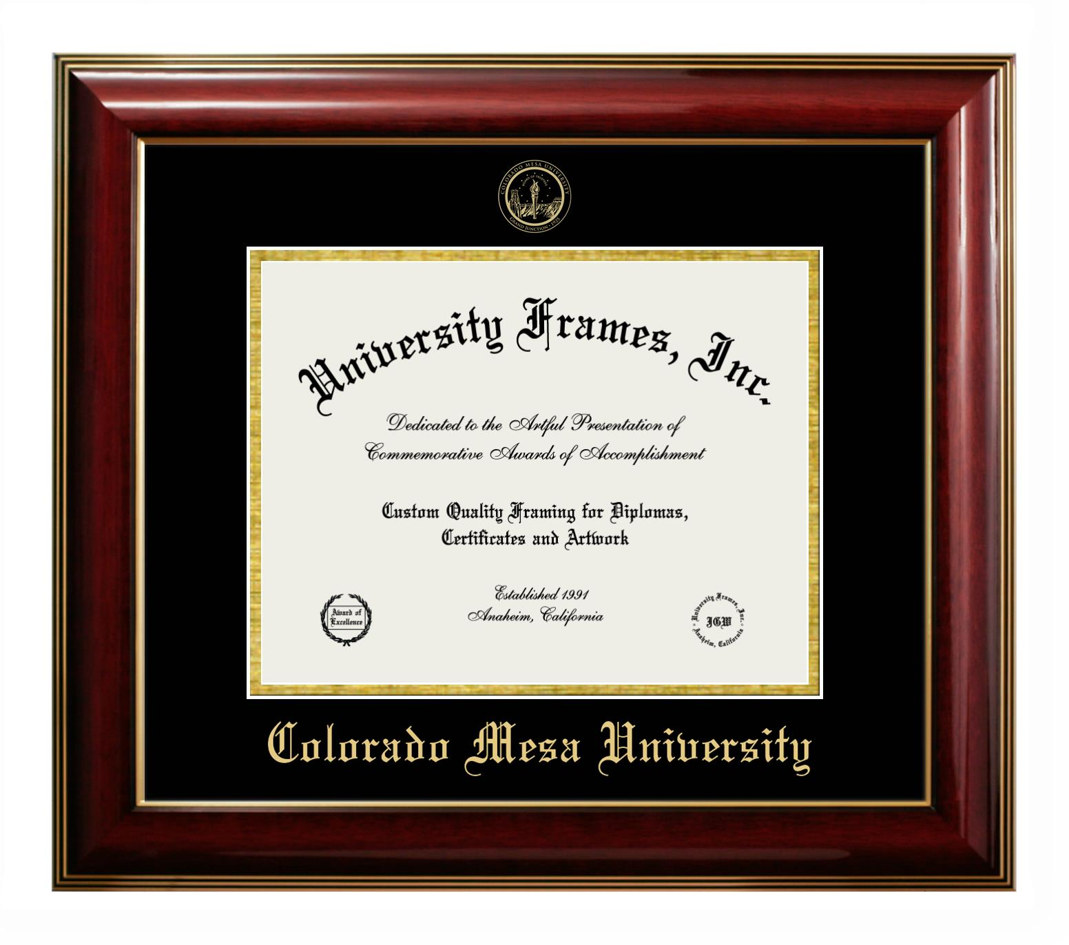 Colorado Mesa University Diploma Frame In Classic Mahogany With Gold Trim With Black Gold Mats
