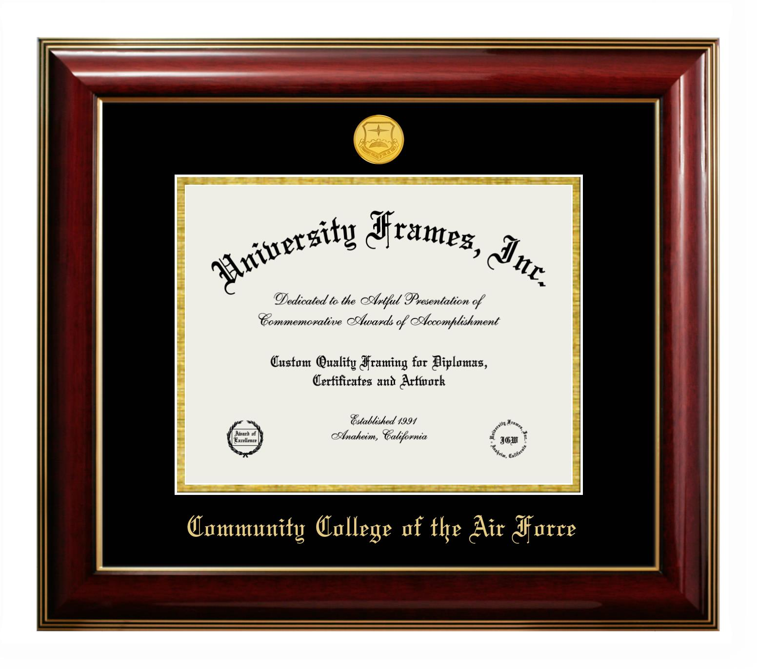 Community College Of The Air Force Diploma Frame In Classic Mahogany With Gold Trim With Black Gold Mats
