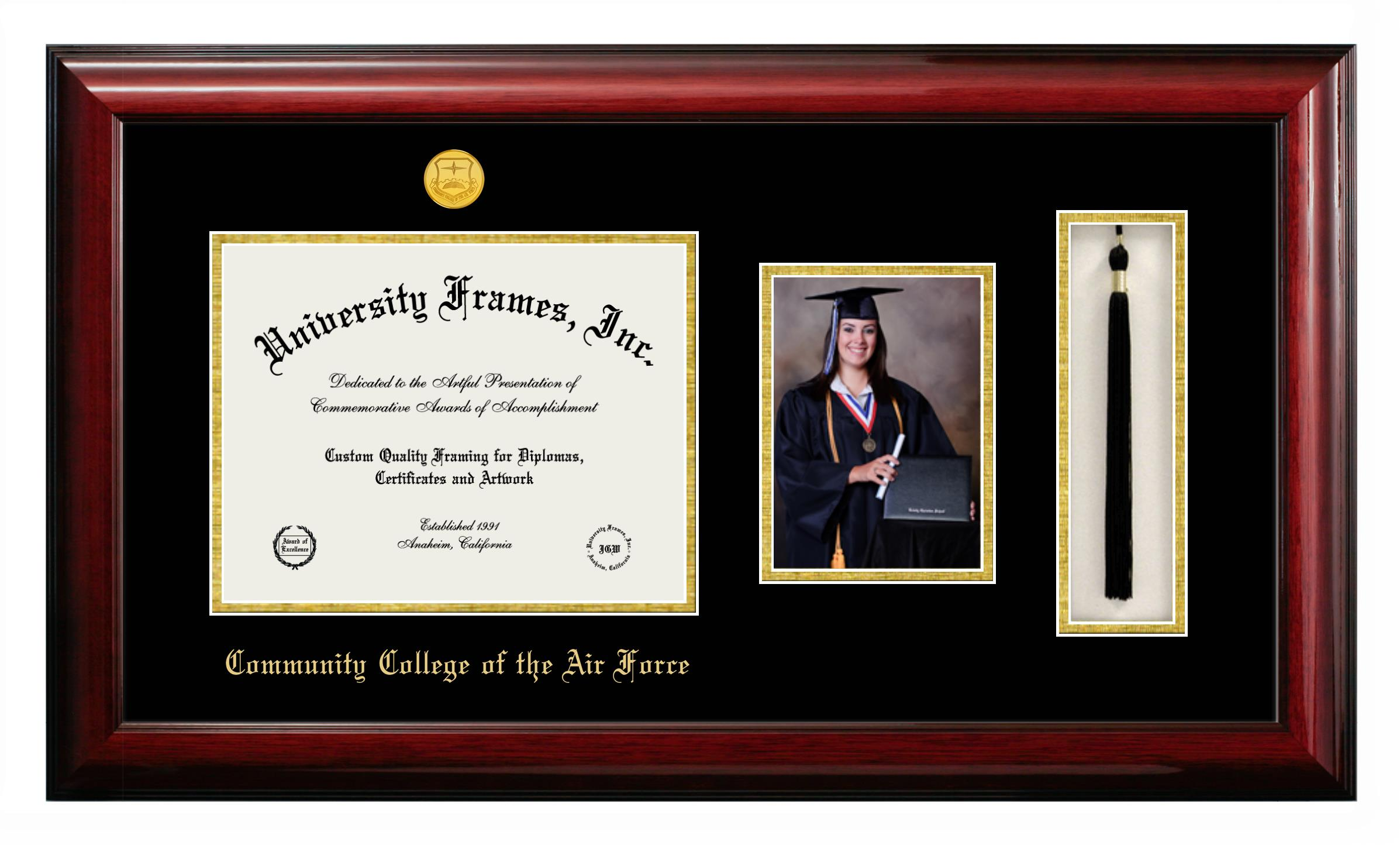 Community College Of The Air Force Diploma With 5 X 7 Portrait Tassel Box Frame In Classic Mahogany With Black Gold Mats