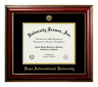 Hope International University Diploma Frame In Legacy Black Cherry With Black Gold Mats