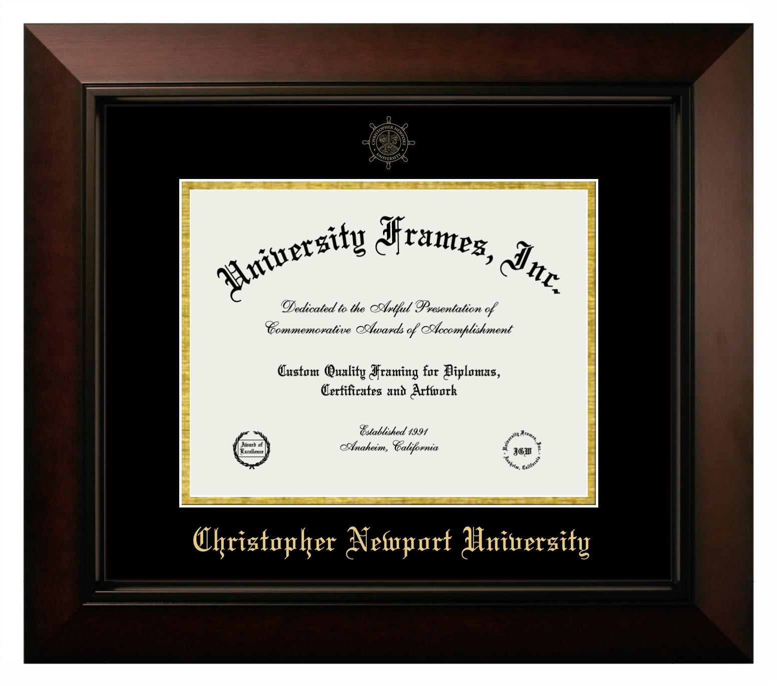 Christopher Newport University 5x7 Portrait Frame In Manhattan Black With Black Gold Mats