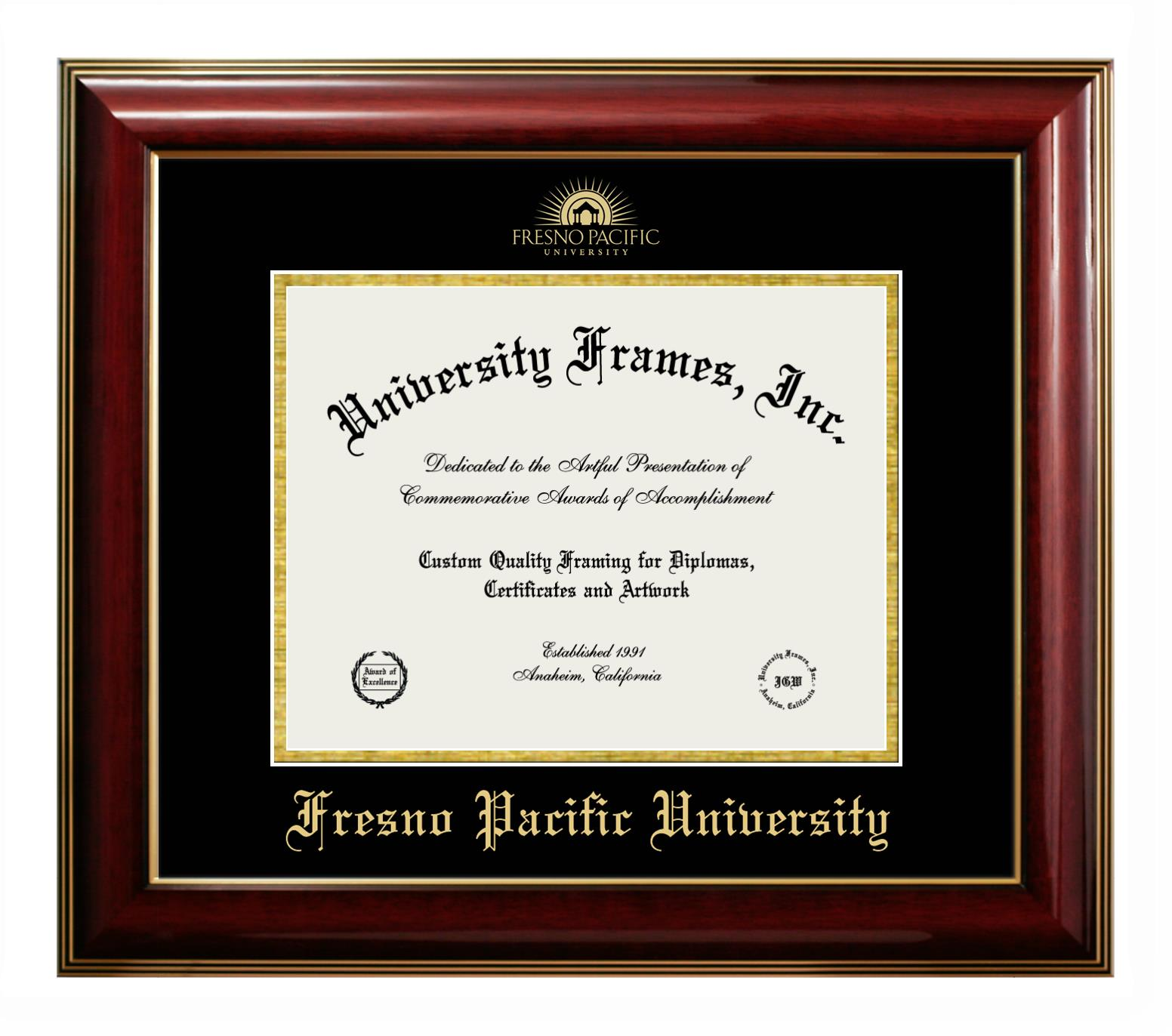Fresno Pacific University Diploma Frame In Executive With Gold Fillet With Black Suede Mat