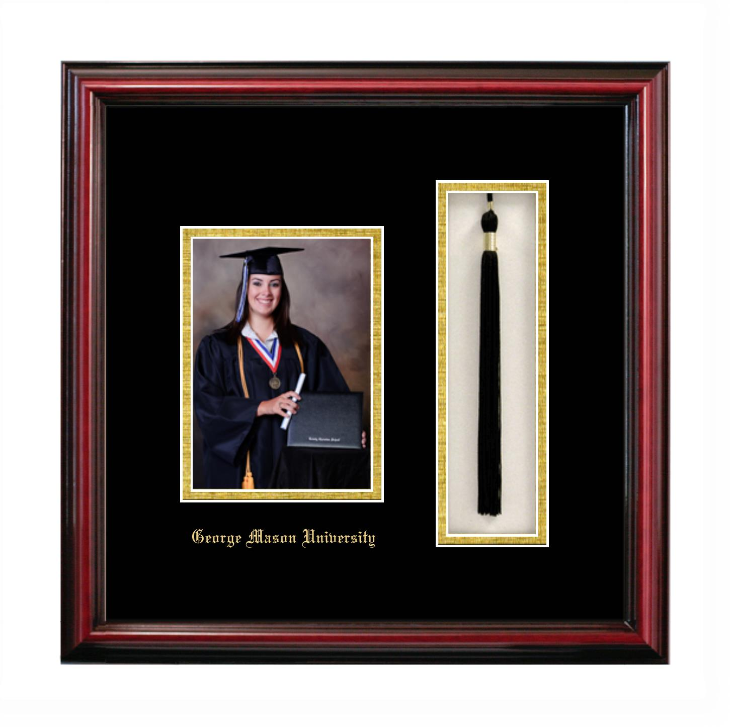 George Mason University 5x7 Portrait With Tassel Box Frame In Petite Cherry With Black Gold Mats