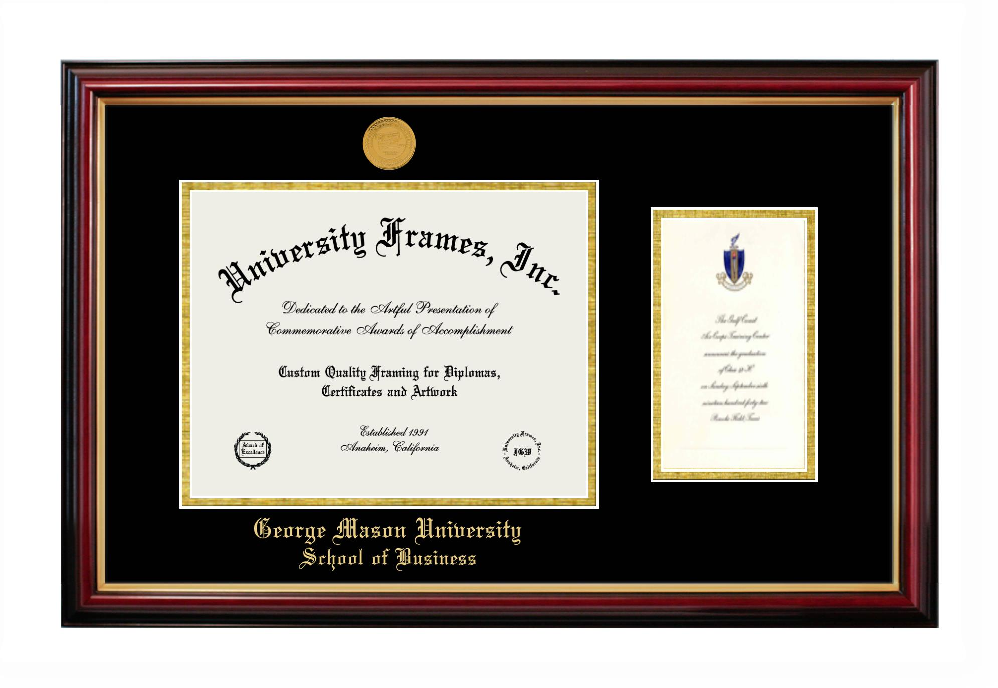 George Mason University School Of Business Diploma With Announcement Frame In Petite Mahogany With Gold Trim With Black Gold Mats