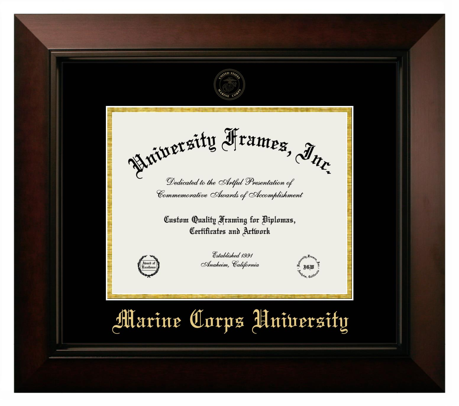 Marine Corps University Diploma Frame In Legacy Black Cherry With Black Gold Mats