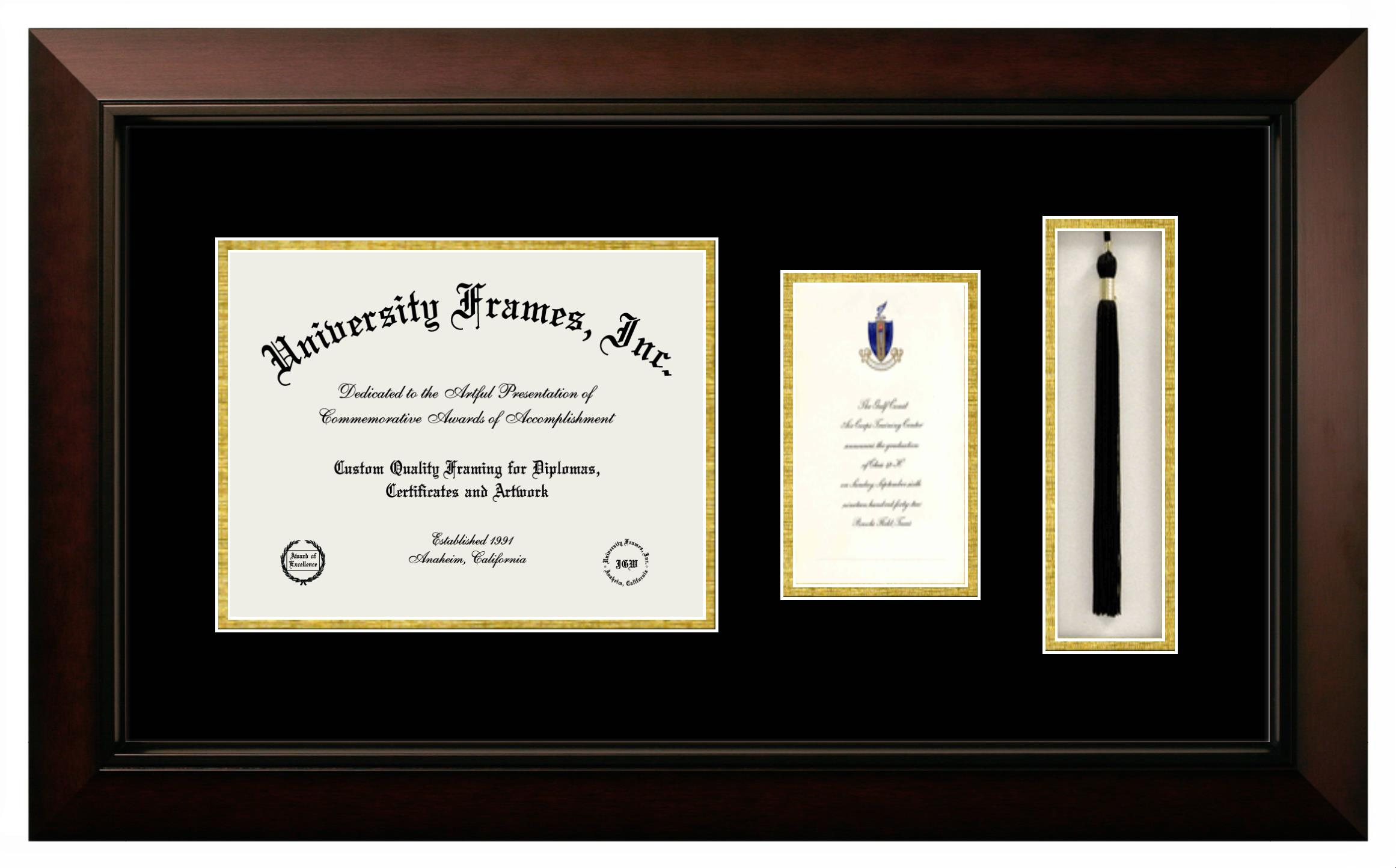 Warner Pacific College Diploma With Announcement Tassel Box Frame In Legacy Black Cherry With Black Gold Mats