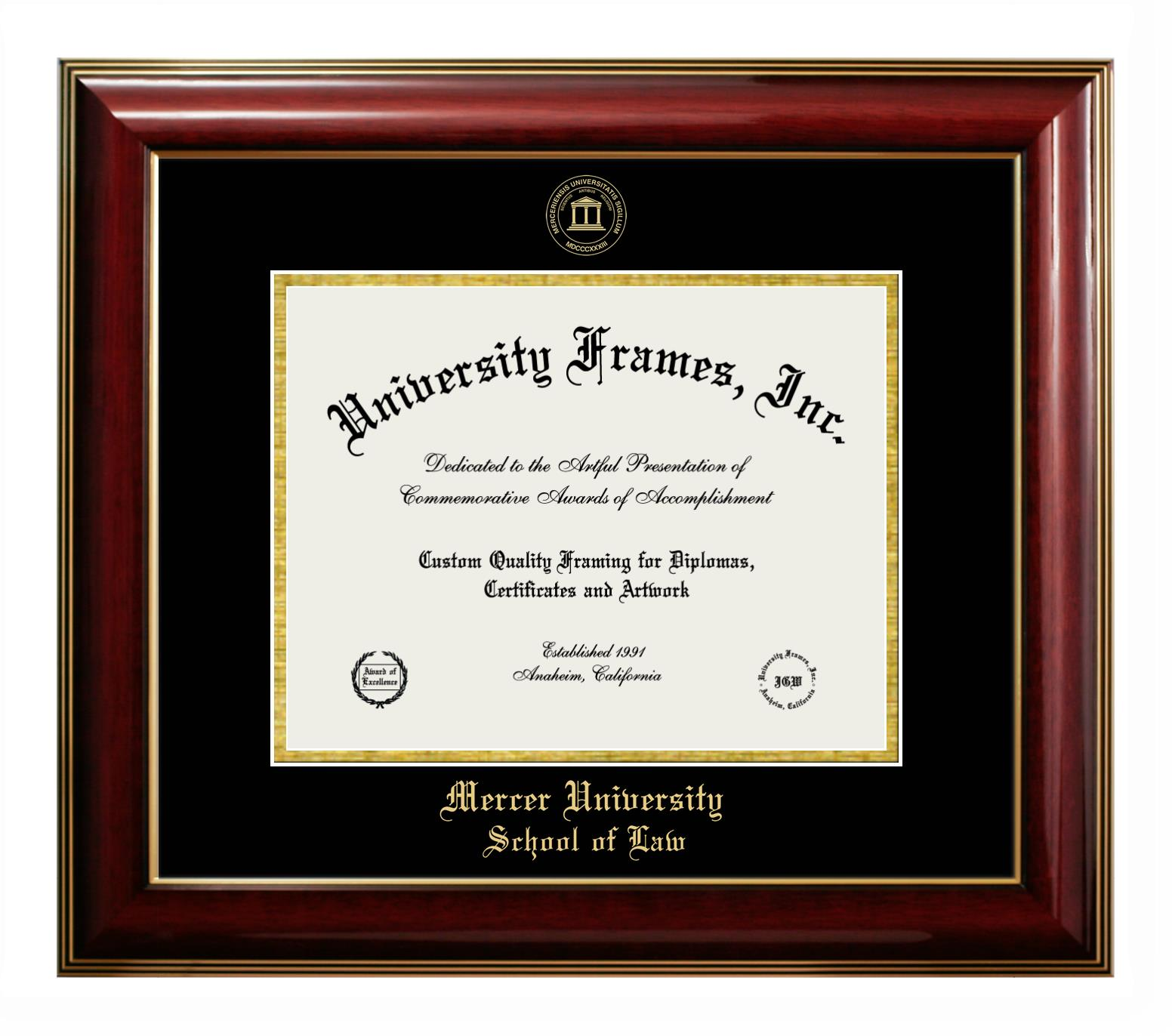 Mercer University School Of Law Diploma Frame In Legacy Black Cherry With Black Gold Mats