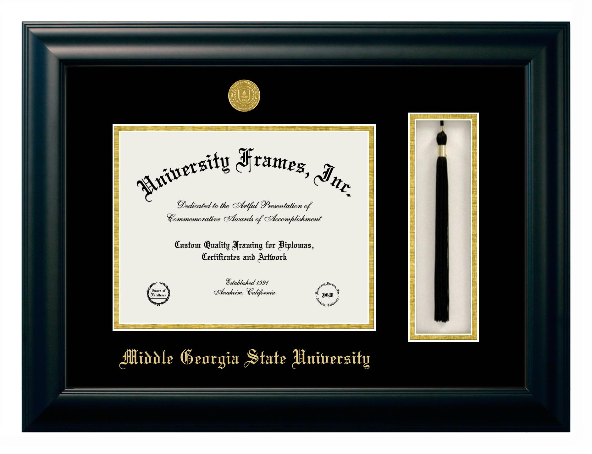 Middle Georgia State University Diploma Frame In Classic Mahogany With Gold Trim With Black Gold Mats