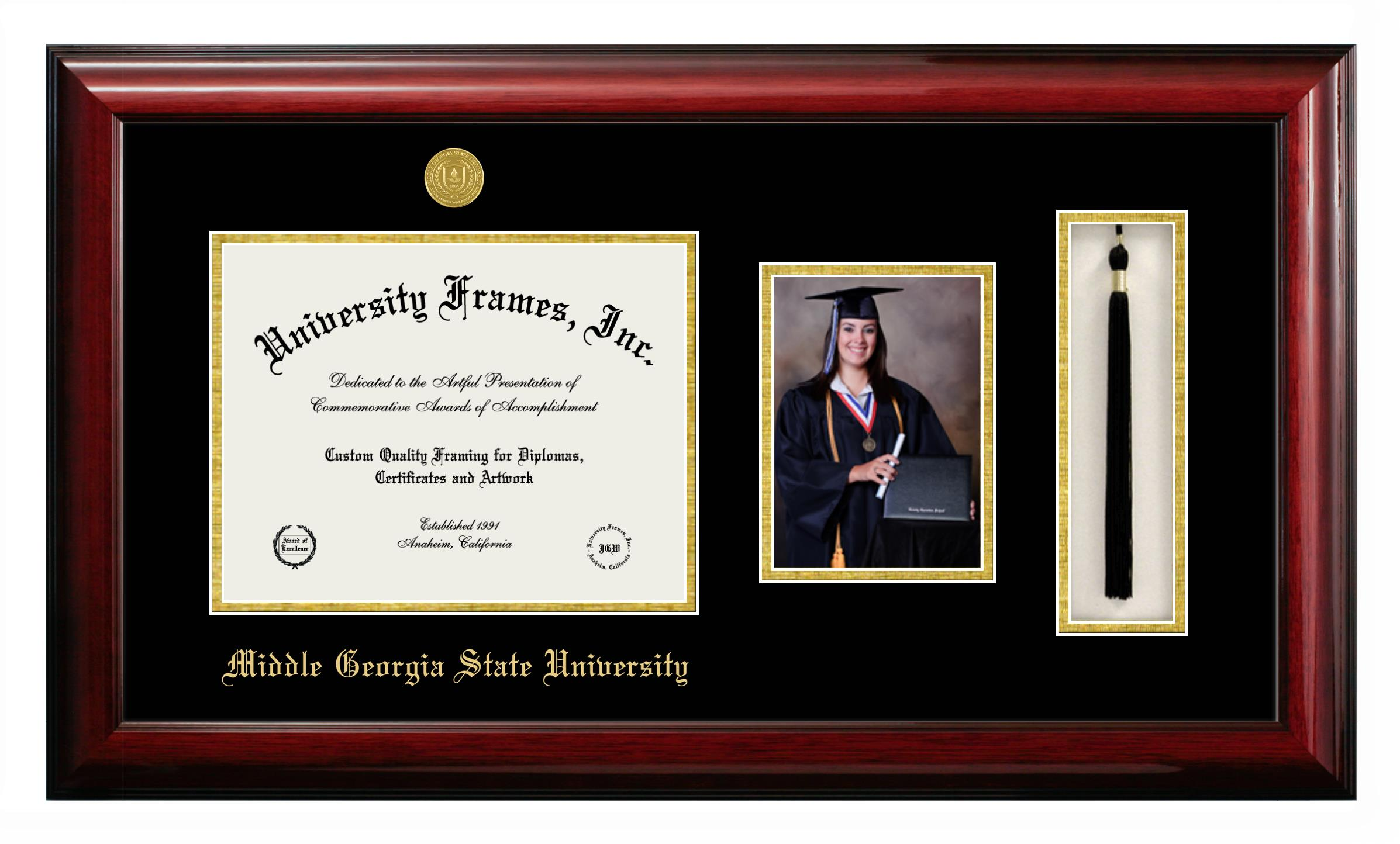 Middle Georgia State University Diploma With 5 X 7 Portrait Tassel Box Frame In Classic Mahogany With Black Gold Mats