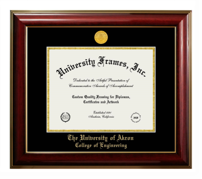 University Of Akron College Of Engineering Diploma With Announcement Frame In Petite Mahogany With Gold Trim With Black Gold Mats