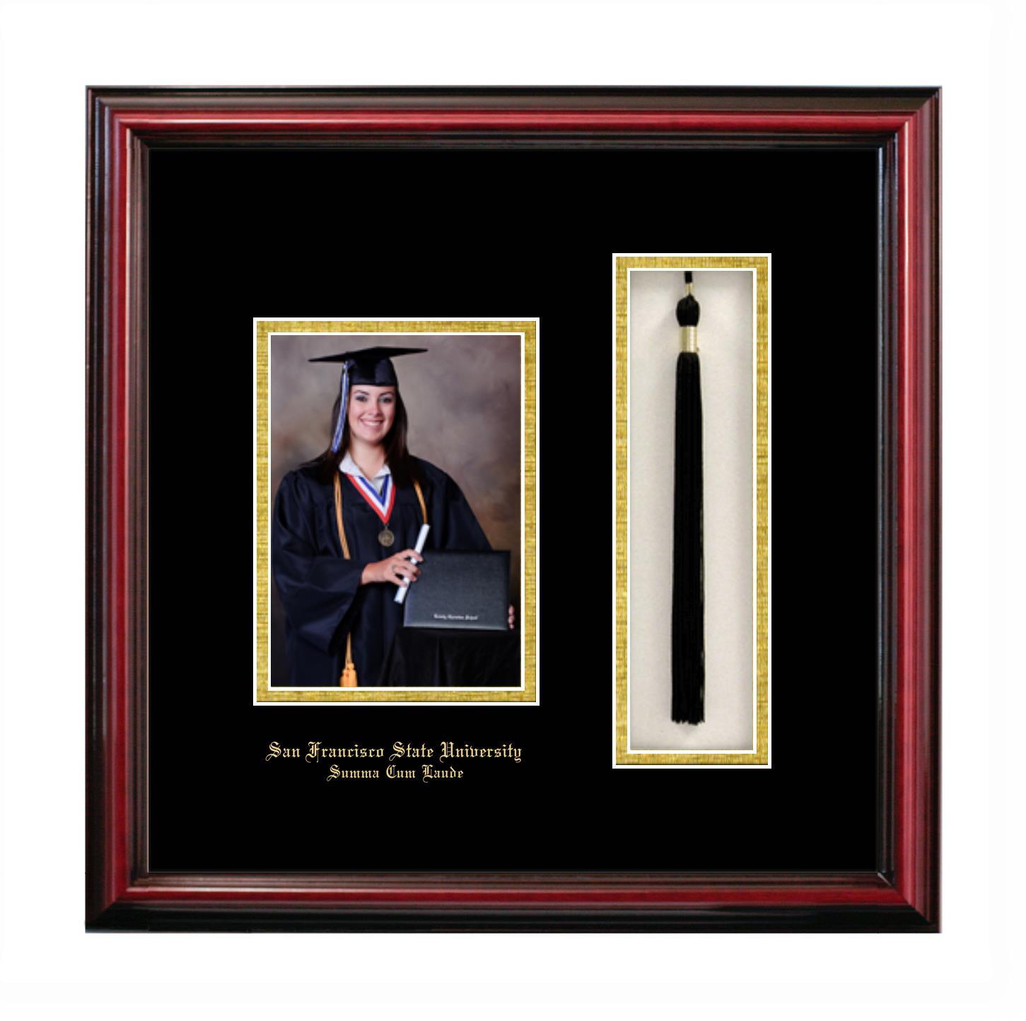 San Francisco State University Summa Cum Laude 5x7 Portrait With Tassel Box Frame In Petite Cherry With Black Gold Mats