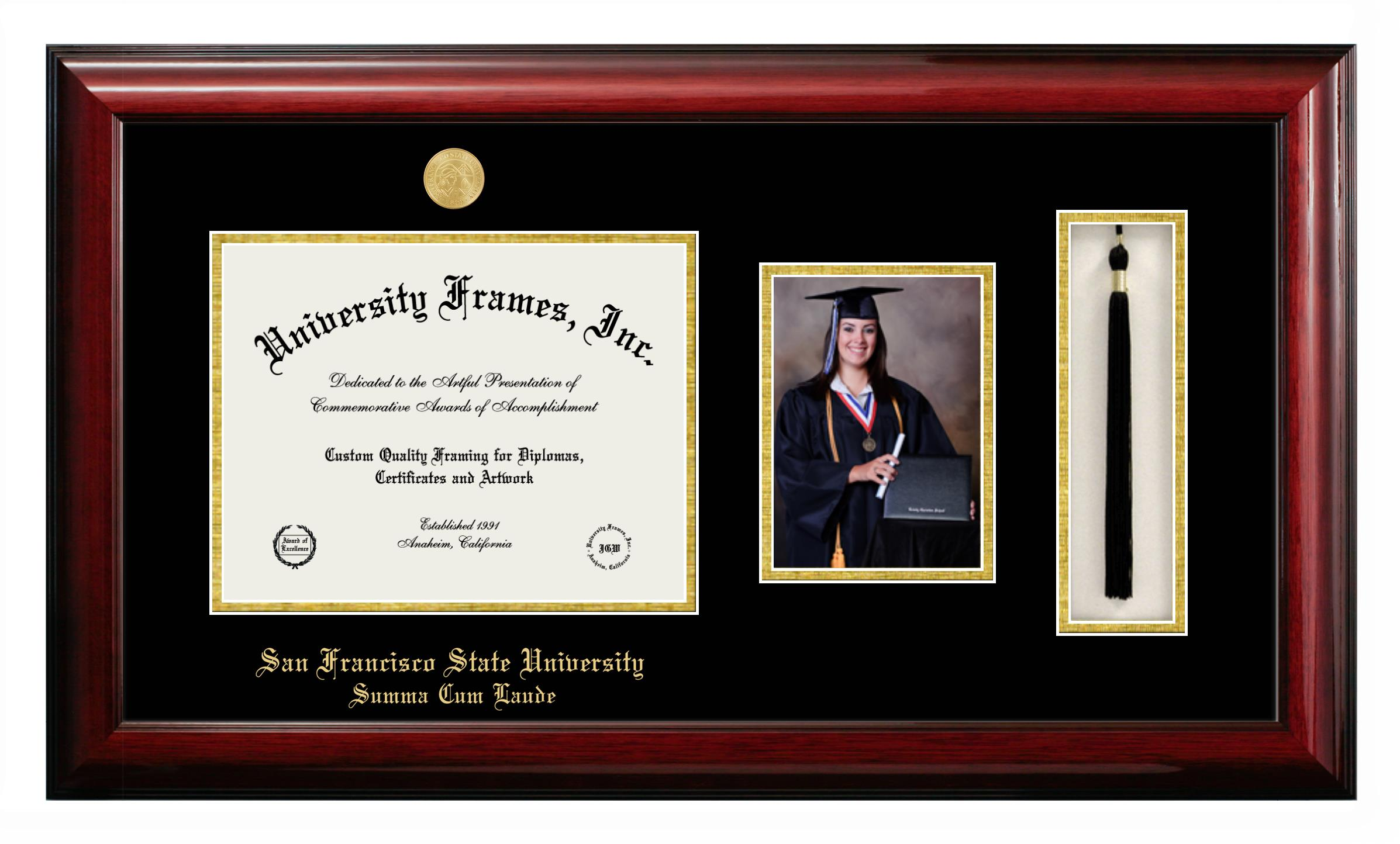 San Francisco State University Summa Cum Laude Diploma With 5 X 7 Portrait Tassel Box Frame In Classic Mahogany With Black Gold Mats