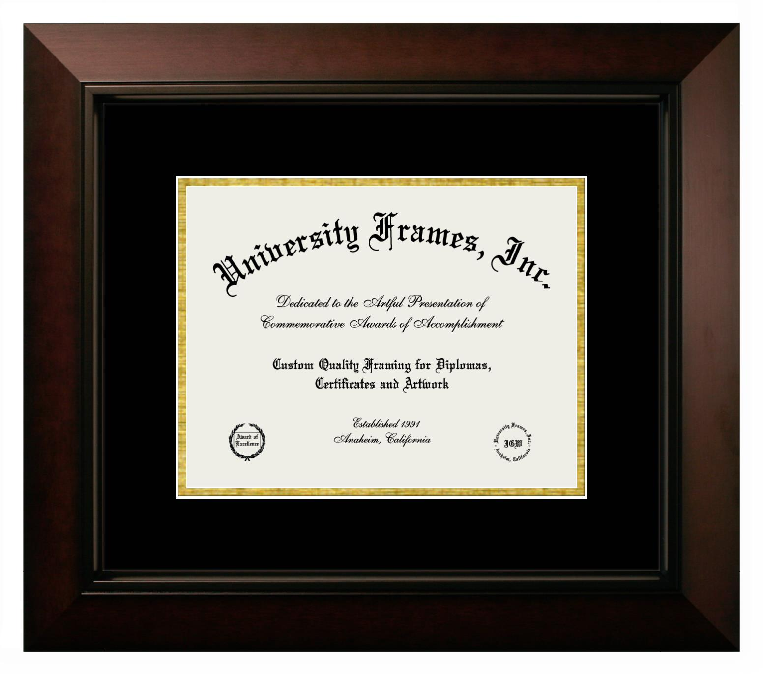 Seton Hall University School Of Law Diploma Frame In Classic Mahogany With Gold Trim With Black Gold Mats