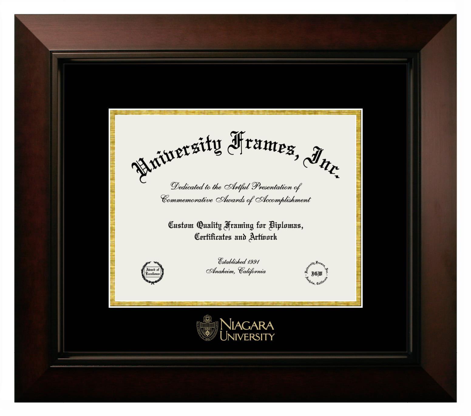 Niagara University Diploma Frame In Legacy Black Cherry With Black Gold Mats