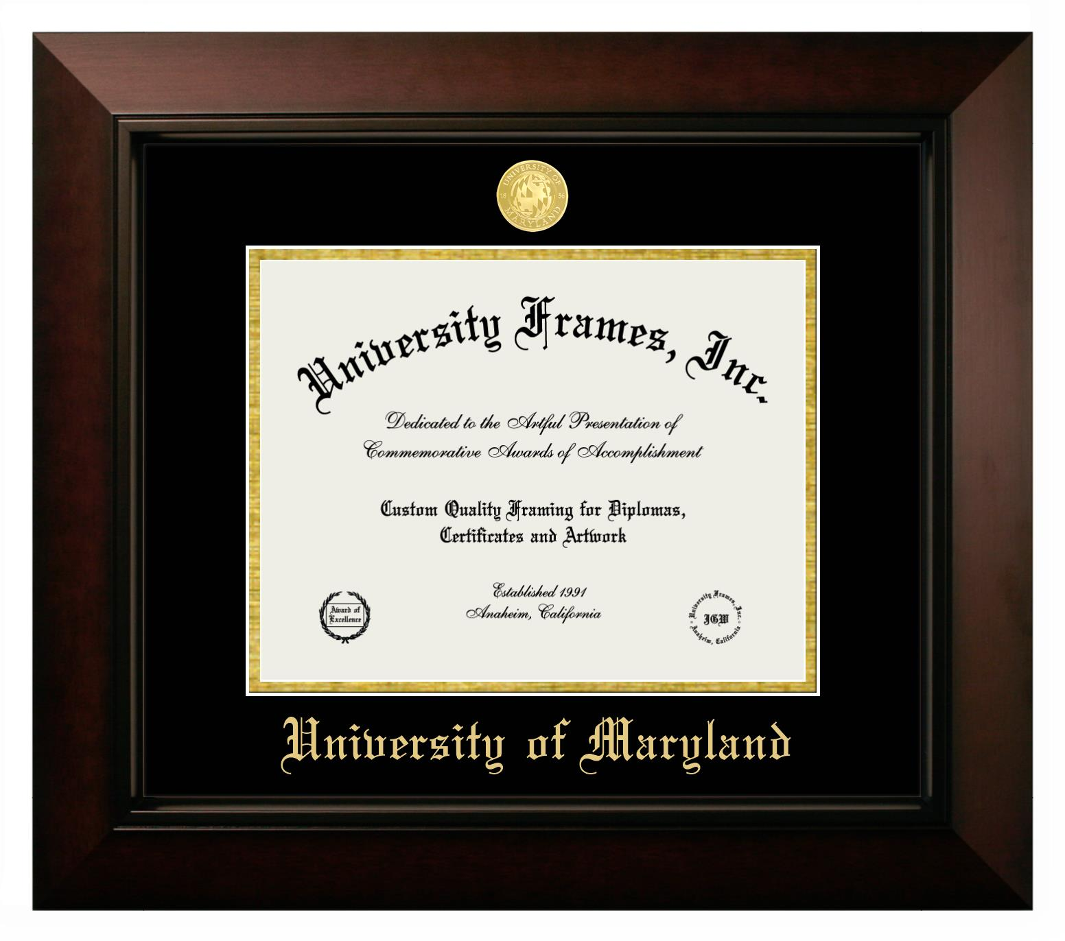University Of Maryland Diploma Frame In Legacy Black Cherry With Black Gold Mats