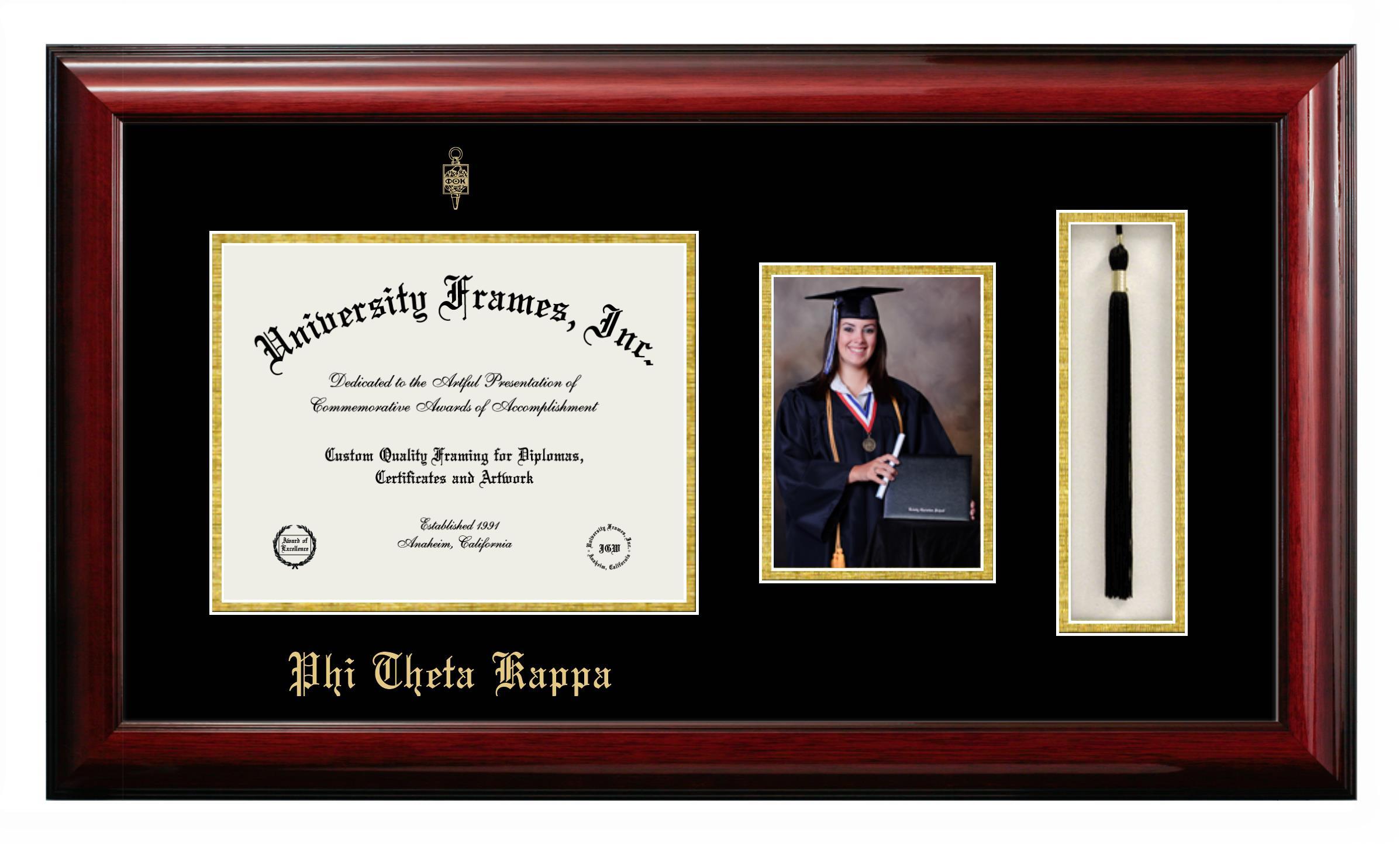 Phi Theta Kappa Diploma With 5 X 7 Portrait Tassel Box Frame In Classic Mahogany With Black Gold Mats