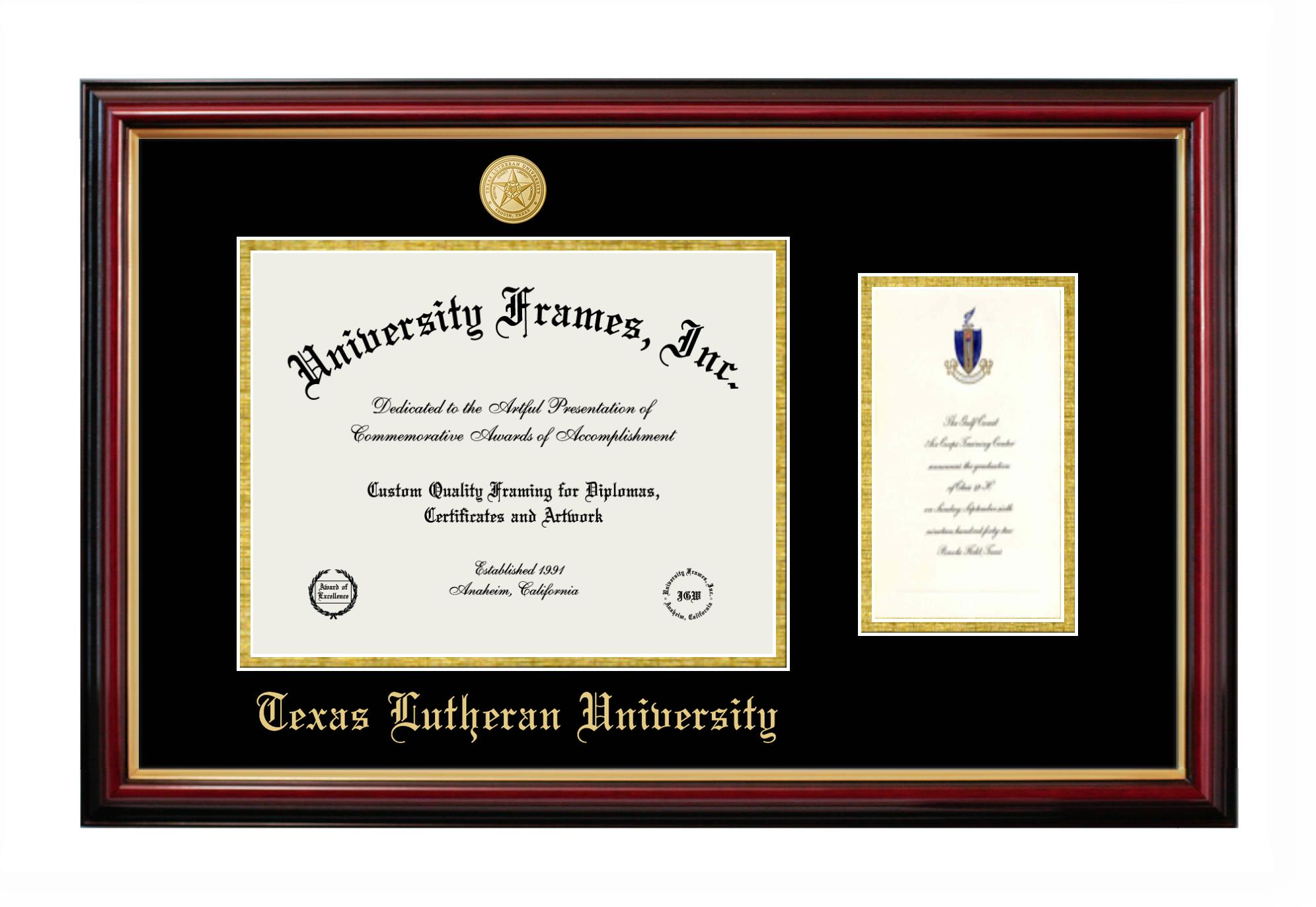 Texas Lutheran University Diploma With Announcement Frame In Petite Mahogany With Gold Trim With Black Gold Mats