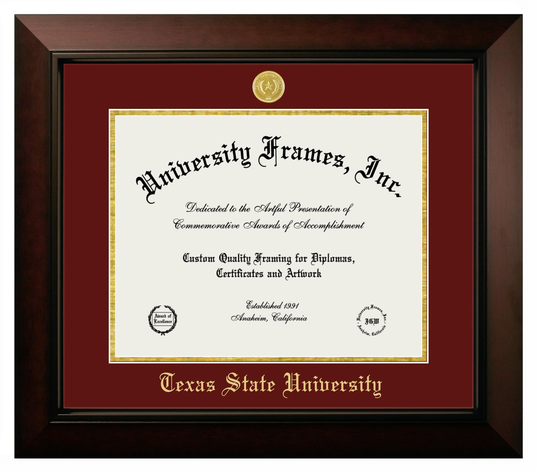 """Texas State University Texas State University Diploma Frame in Legacy Black Cherry with Maroon & Gold Mats for DOCUMENT: 11""""H X 14""""W"""