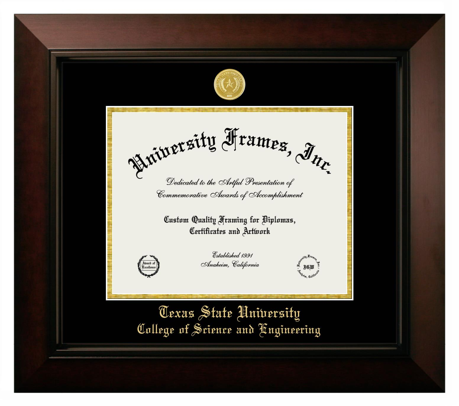 """Texas State University College of Science and Engineering Texas State University College of Science and Engineering Diploma Frame in Legacy Black Cherry with Black & Gold Mats for DOCUMENT: 8 1/2""""H X 11""""W"""